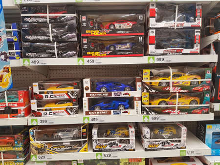 CHIANG RAI, THAILAND - SEPTEMBER 3 : vehicle toys on supermarket shelf on September 3, 2020 in Chiang Rai, Thailand.