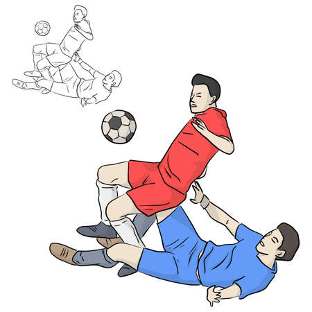 soccer football players tackling for the ball vector illustration sketch doodle hand drawn with black lines isolated on white background
