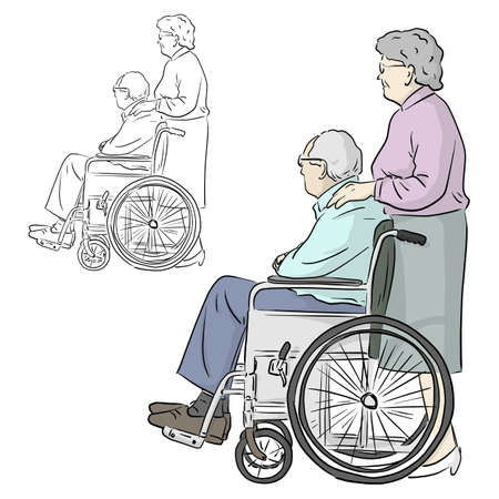old woman standing with man sitting on wheelchair vector illustration sketch doodle hand drawn with black lines isolated on white background