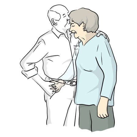 old woman hugging his dead transparent husband vector illustration sketch doodle hand drawn with black lines isolated on white background