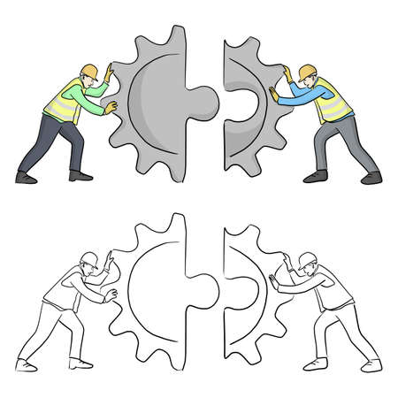 engineer put the geer jigsaw puzzle together vector illustration sketch doodle hand drawn with black lines isolated on white background. Teamwork concept.