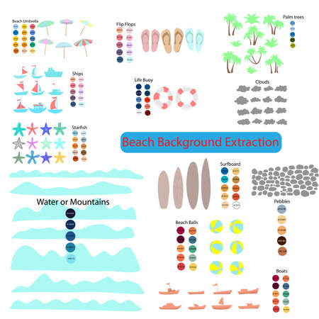 Beach background extaction with HTML color code illustration vector. You can mix and edit any items together. Ilustração