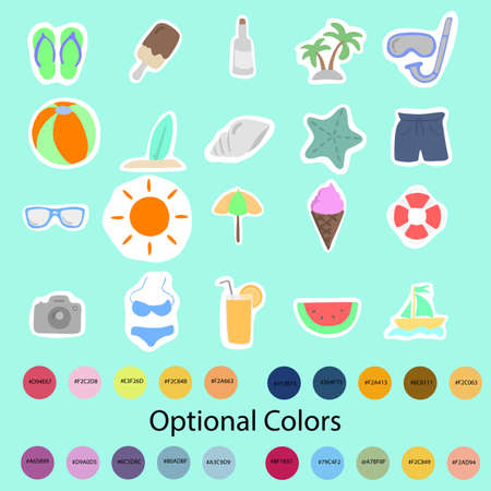 Illustration vector colorful summer icon set with optional color codes isolated on blue background