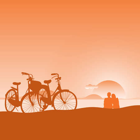 lover looking at the sunset on the beach with bicycle at foreground illustration vector.