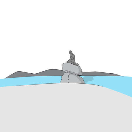 The Little mermaid statue in Copenhagen Denmark hand drawn illustration vector