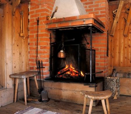 log cabin winter: Log Cabin Fireplace