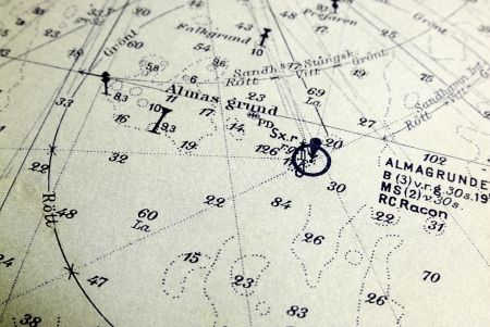 Macro shot of a marine chart, detailing Stockholm archipelago   Stock Photo