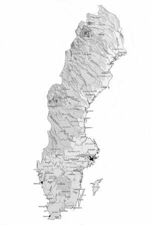 scandinavian peninsula: Closeup map of Sweden