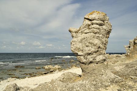 coastal feature: Raukar on Gotland, Sweden  Stock Photo