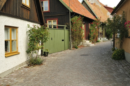scandinavian peninsula: Street with old houses in a Swedish town Visby