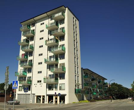 Modern apartment buildings in new neighborhood