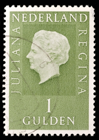 gulden: NETHERLANDS - CIRCA 1980: Green color postage stamp printed in Netherlands with portrait image of Queen Juliana Louise Emma Marie Wilhelmina.