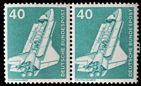 bundespost: GERMANY - CIRCA 1980 Stamp printed in Germany shows a spaceshuttle, circa 1980