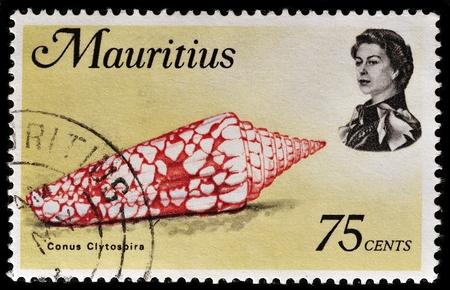 MAURITIUS - CIRCA 1969: A stamp printed in Mauritius shows Conus clyptospira, circa 1969.