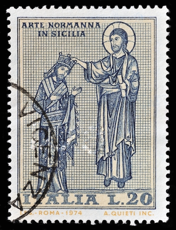 hippocrates: ITALY - CIRCA 1974: A stamp printed in the Italy shows Christ Crowning King Roger, Mosaic in Martorana Church, Palermo, Norman Art in Sicily, circa 1974