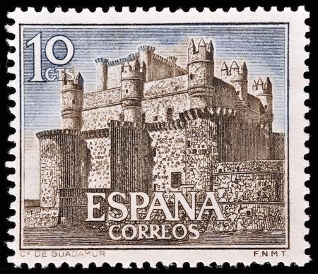 window seal: SPAIN - CIRCA 1966: stamp printed by Spain, shows Castle Guadamur, circa 1966 Editorial