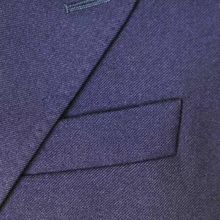 specific clothing: Close-up of a classic blue wool suit Stock Photo