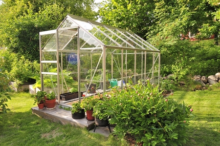 in the greenhouse: A garden center greenhouse with a colorful display of potted plants and flowers Stock Photo