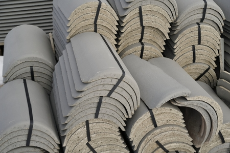industrial objects equipment: Stack of old roof tiles Stock Photo