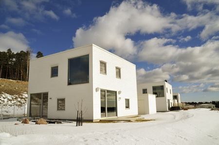 blu sky: Swedish housing, winter in Eker? with blu sky .