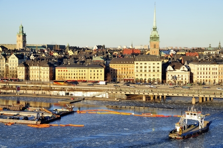 embankment: Stockholm embankment with boats