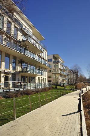 Modern apartment buildings in new neighborhood. photo