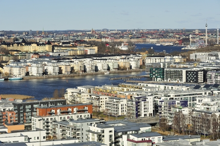 world at your fingertips: High angle view of Stockholm. Stock Photo