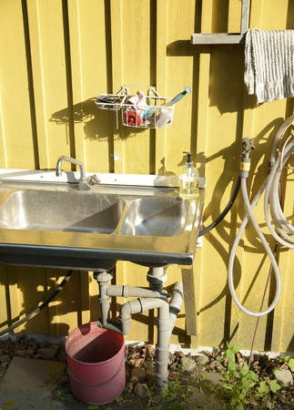 the place is outdoor: Outdoor wash place
