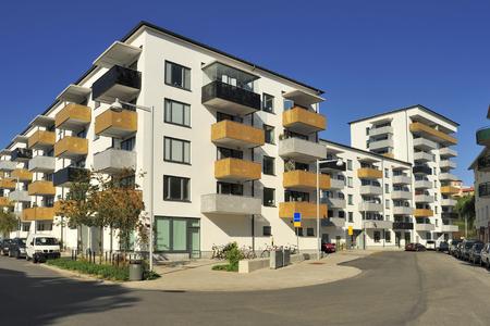 apartment block: Swedish apartment Block in summer.