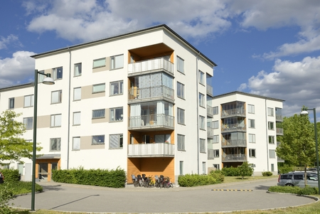 homeownership: Swedish apartment blocks in summer Stock Photo