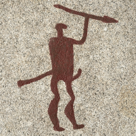 Bronze age warrior carving Stock Photo