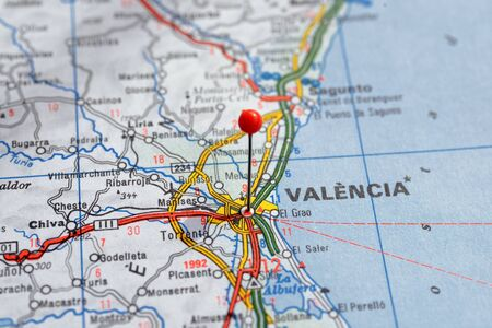 Sweden Stockholm, 07 April 2018: European cities on map series. Closeup of Valencia Editorial