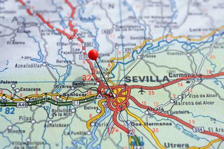 Sweden Stockholm, 07 April 2018: European cities on map series. Closeup of Sevilla