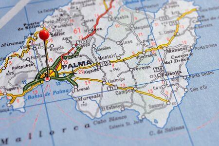 Sweden Stockholm, 07 April 2018: European cities on map series. Closeup of Palma
