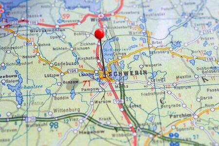 Sweden Stockholm, 07 April 2018: European cities on map series. Closeup of Schwerin