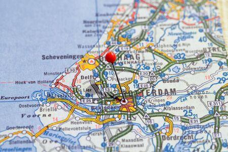Sweden Stockholm, 07 April 2018: European cities on map series. Closeup of Rotterdam
