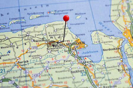Sweden Stockholm, 07 April 2018: European cities on map series. Closeup of Wilhemnshaven