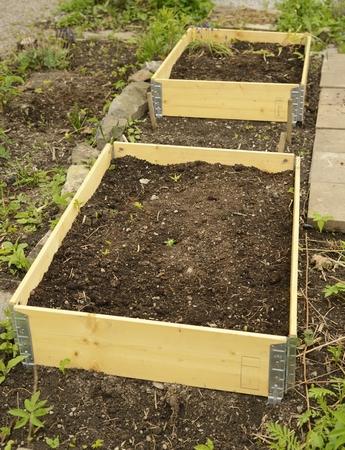 Pallet collars in garden