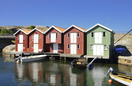 Beautiful landscape view of fishing houses at Kungshamn. Archivio Fotografico