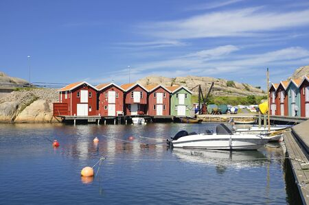 Beautiful landscape view of fishing houses at Kungshamn.