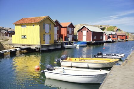 Beautiful landscape view of fishing houses at Kungshamn. Imagens
