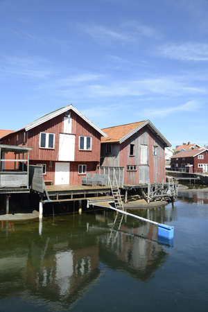 Beautiful landscape view of fishing houses at Kungshamn Banco de Imagens