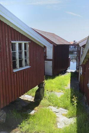 Old boathouses on poles