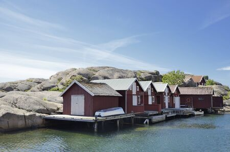 Beautiful landscape view of fishing houses at Kungshamn Archivio Fotografico