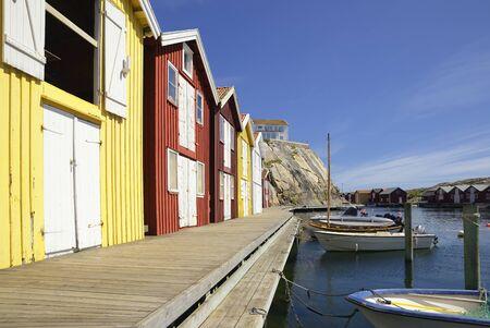 Beautiful landscape view of fishing houses at Kungshamn Standard-Bild