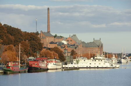 Soder Malarstrand in autumn.  Stockholm in Sweden Standard-Bild
