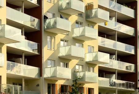 Modern Swedish apartment block with balcony