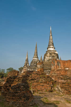 Stupas (chedis) of a Wat in Ayutthaya, Thailand. Ayutthaya city is the capital of Ayutthaya province in Thailand. Stock Photo - 7560045