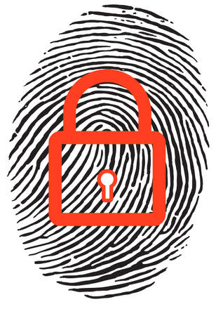 identity theft: Finger Print with closed, red u-lock