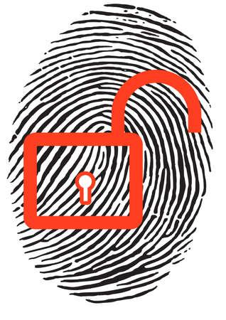 unlocked: Finger Print with unlocked, red u-lock Illustration